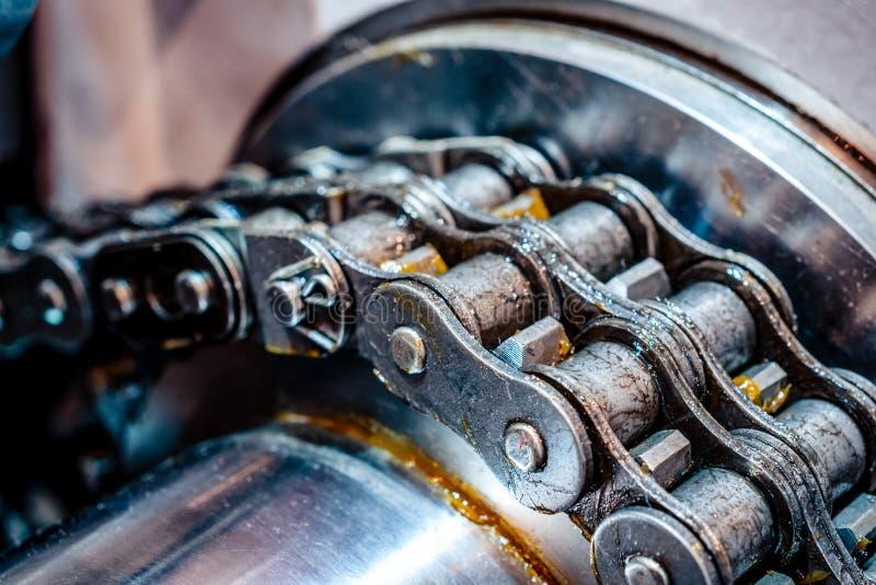 Trasmissione a catena meccanica catena del rullo di Doppio fila fotografia stock
