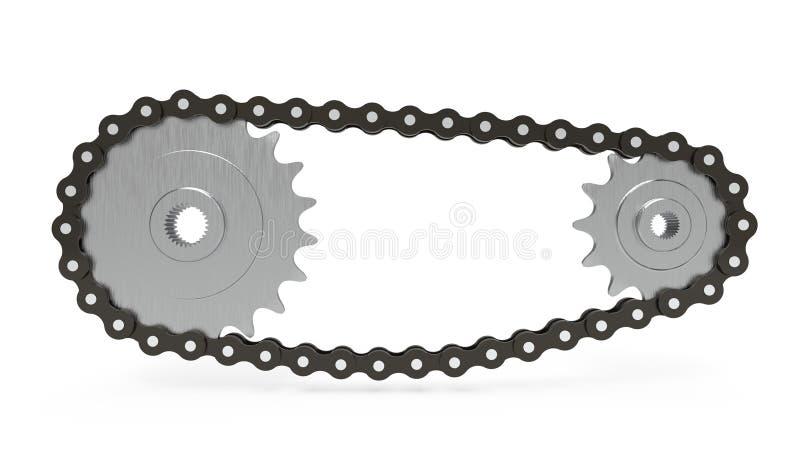 Trasmissione a catena su fondo bianco, rappresentazione 3d illustrazione di stock