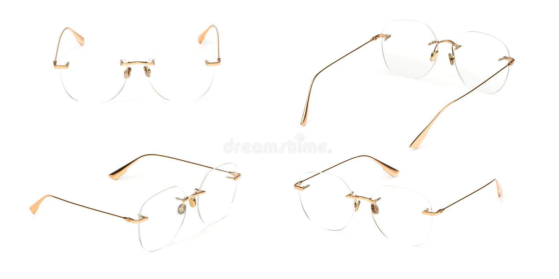 Trasparente stabilito del materiale del metallo dell'oro di vetro isolato su fondo bianco Vetri dell'occhio dell'ufficio di modo  fotografia stock