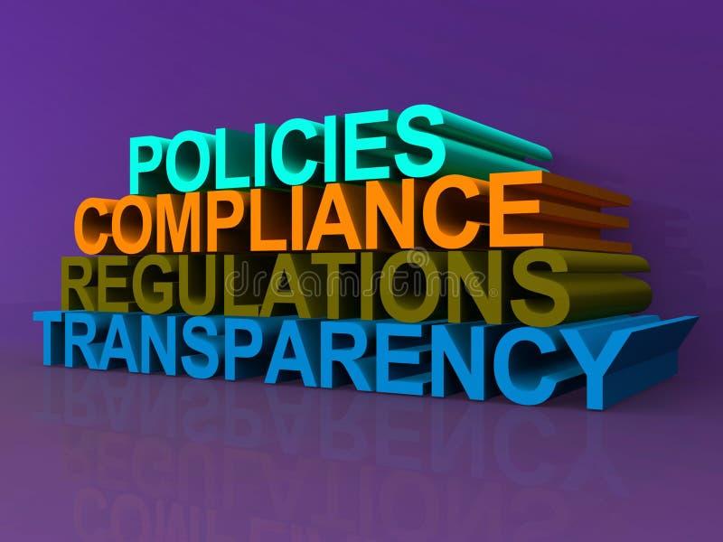 Trasparenza di regolamenti di conformità di politiche royalty illustrazione gratis