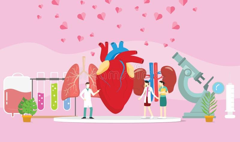 Trasplante humano sano del donante de órganos con la gente del doctor y una cierta extensión del corazón - stock de ilustración