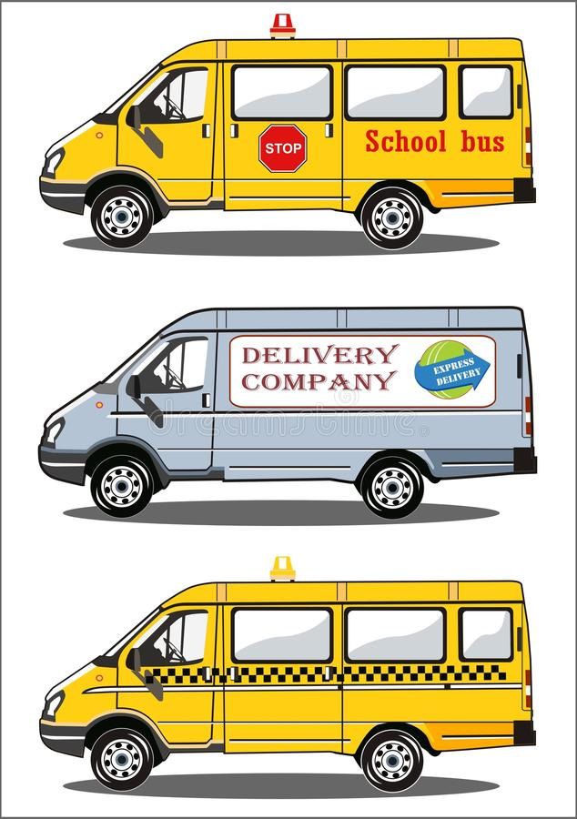 Trasporta lo scuolabus su autocarro, la consegna, taxi illustrazione di stock
