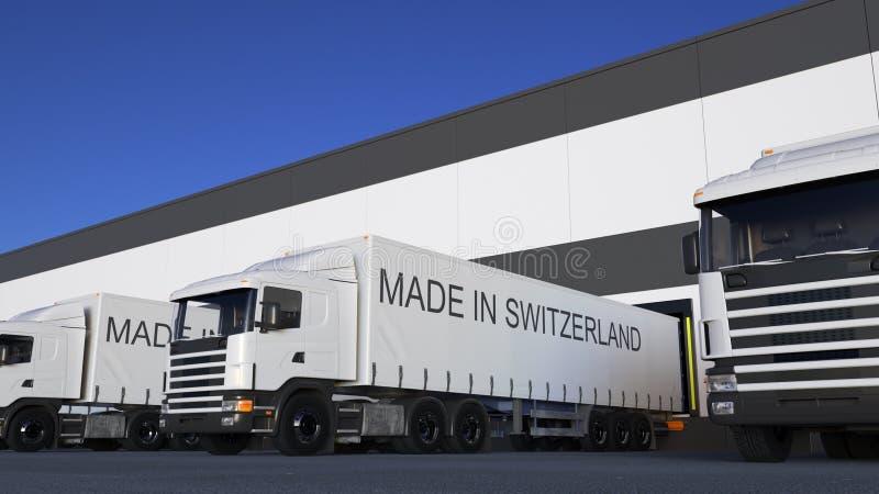 Trasporti i camion dei semi con FATTO nel titolo della SVIZZERA sul caricamento o sullo scarico del rimorchio Trasporto 3D del ca immagini stock libere da diritti