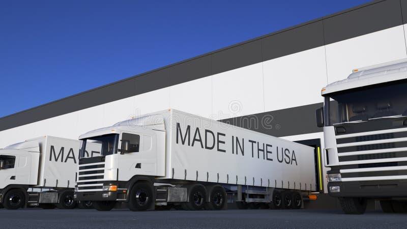Trasporti i camion dei semi con FATTO nel titolo di U.S.A. sul caricamento o sullo scarico del rimorchio Trasporto 3D del carico  fotografia stock