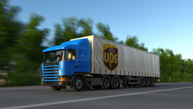 Trasporti il camion dei semi con il logo di United Parcel Service UPS che guida lungo il sentiero forestale Rappresentazione edit fotografia stock libera da diritti