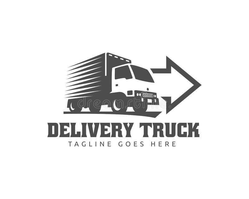 Trasporti il logo su autocarro, il logo del carico, i camion del carico della consegna, logo logistico illustrazione vettoriale