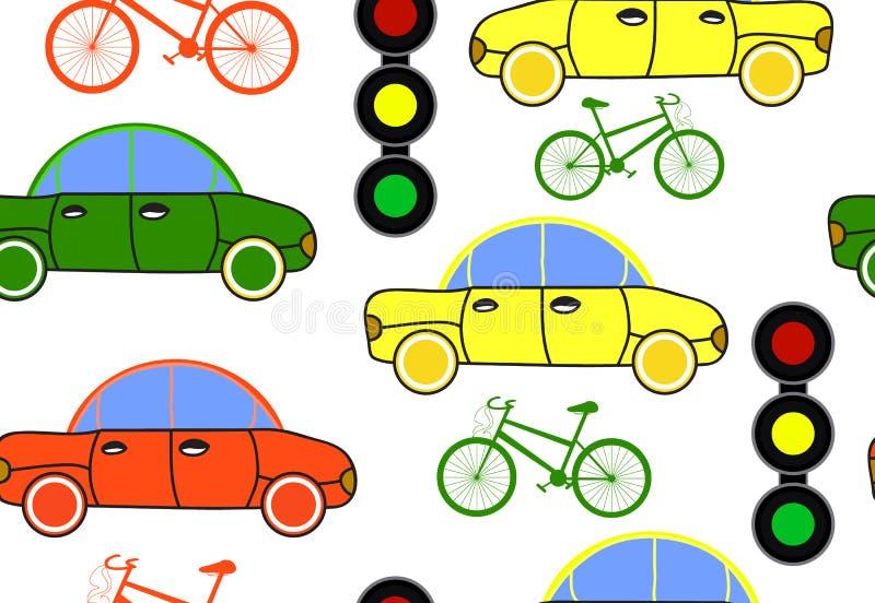 Trasporti il modello senza cuciture di vettore con le automobili, i semafori e le biciclette illustrazione di stock