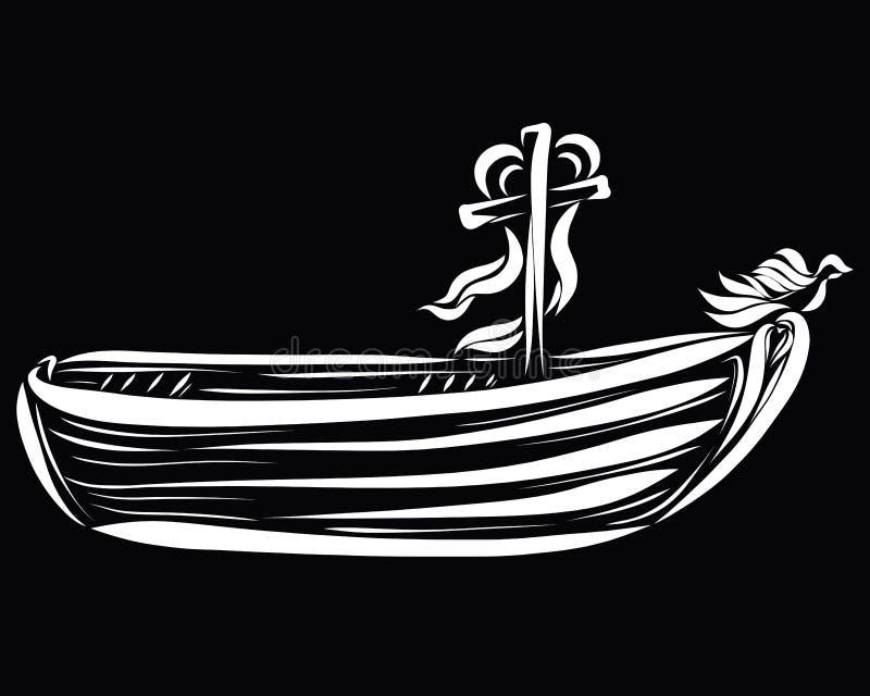 Trasporti la navigazione a cielo, barca di salvataggio, con un incrocio, cuore a illustrazione vettoriale