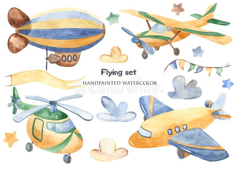 Trasporto aereo in acquerello illustrazione vettoriale