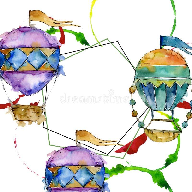 Trasporto aereo della mosca del fondo della mongolfiera Insieme dell'illustrazione del fondo dell'acquerello Quadrato dell'orname illustrazione di stock