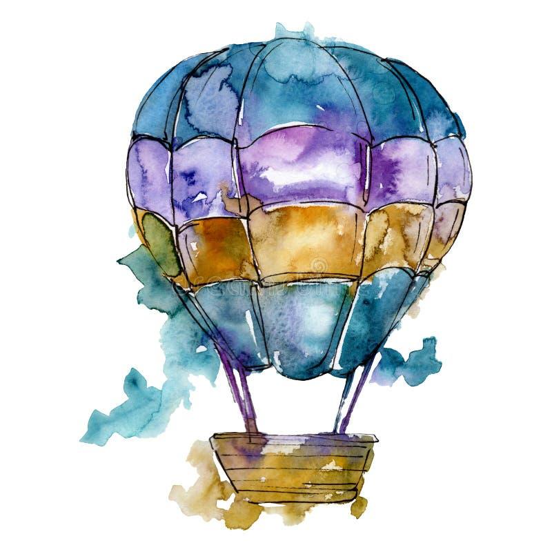 Trasporto aereo della mosca del fondo della mongolfiera Insieme della priorità bassa dell'acquerello Elemento isolato dell'illust royalty illustrazione gratis