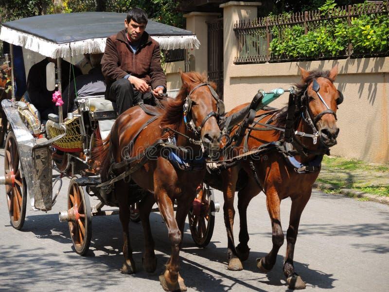 Trasporto con i turisti a Costantinopoli, Turchia fotografia stock