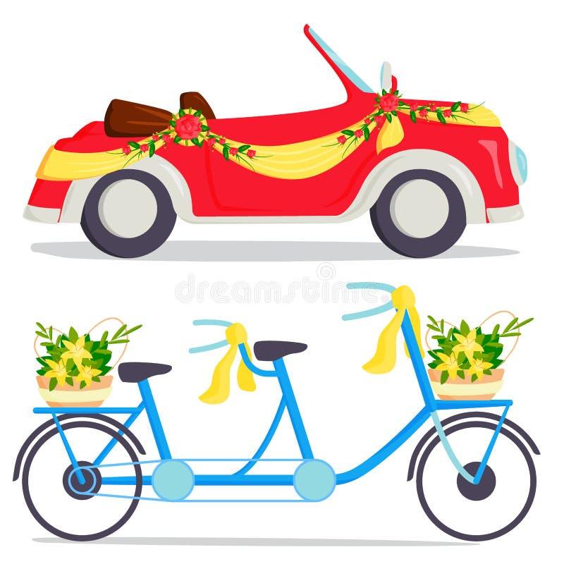 Trasporto costoso automatico tradizionale della sposa di cerimonia del trasporto di modo di nozze retro e matrimonio romantico de royalty illustrazione gratis