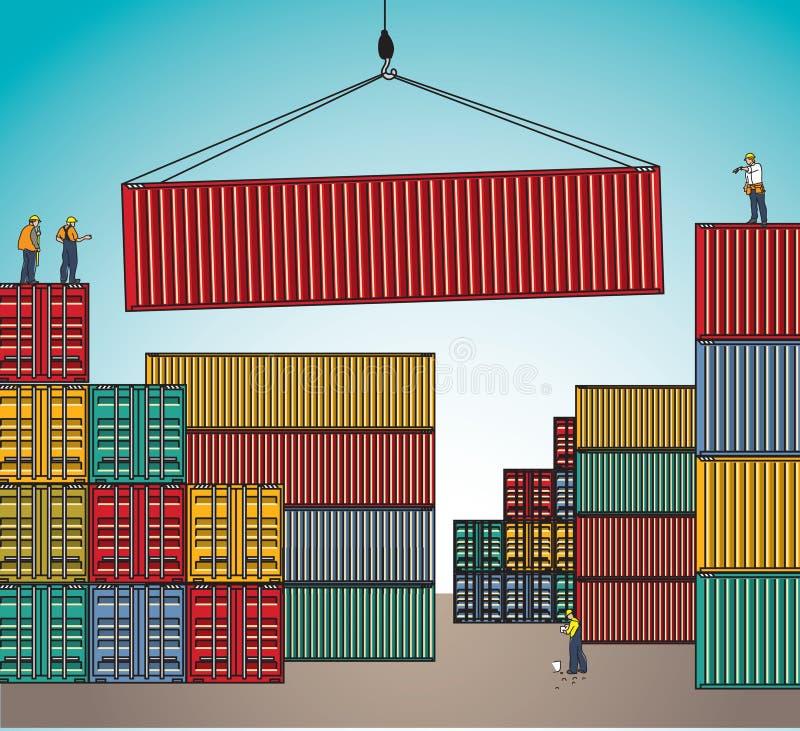 Trasporto del carico di caricamento di trasporto di carico del contenitore del mare illustrazione vettoriale