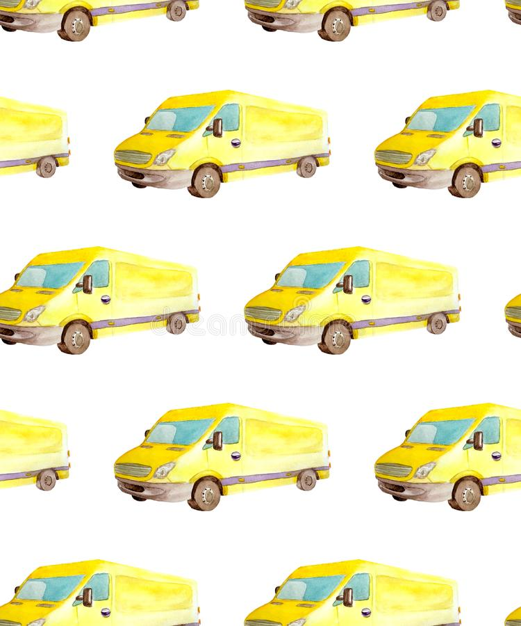 Trasporto del modello e logistico senza cuciture dell'acquerello van truck giallo con le ruote grige isolate su fondo bianco illustrazione vettoriale