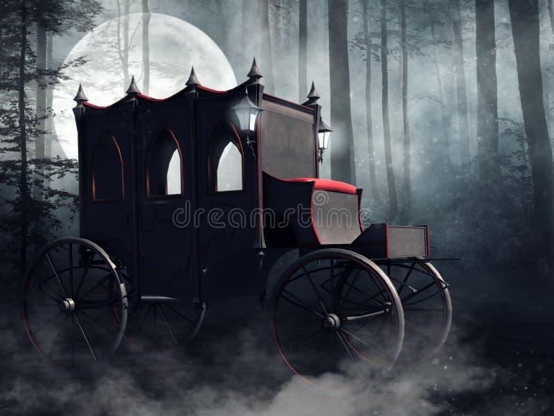 Trasporto del vampiro in una foresta scura royalty illustrazione gratis