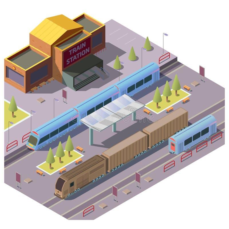 Trasporto della ferrovia sul vettore della stazione ferroviaria illustrazione di stock