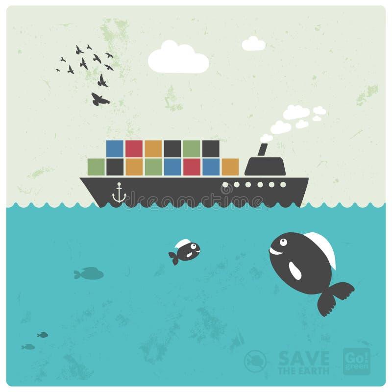 Trasporto di carico - trasporto marittimo illustrazione vettoriale