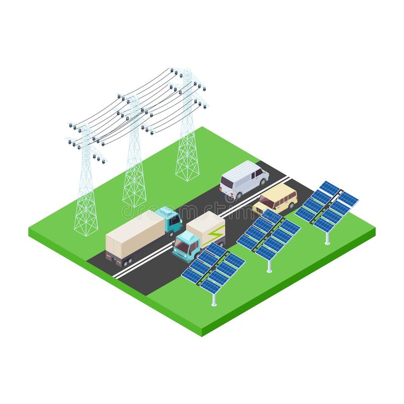 Trasporto di energia di Eco e vettore isometrico della strada principale illustrazione di stock