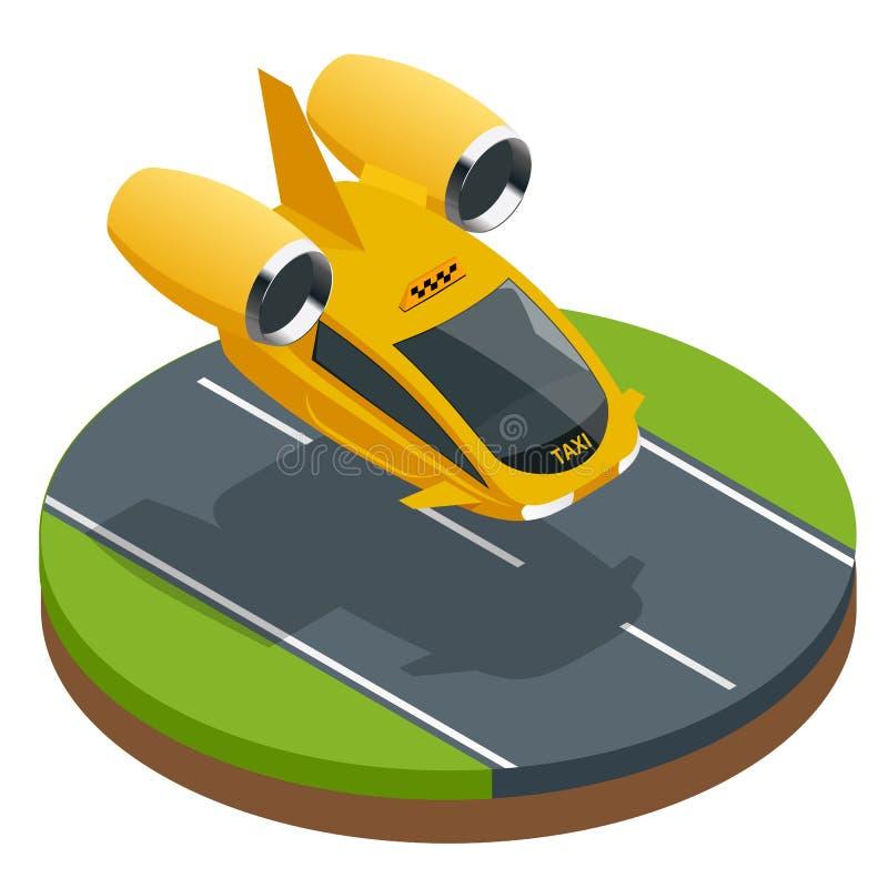 Trasporto di persone futuristico moderno isometrico dell'aria Taxi di aria Aerei elettrici senza equipaggio moderni isolati su bi royalty illustrazione gratis