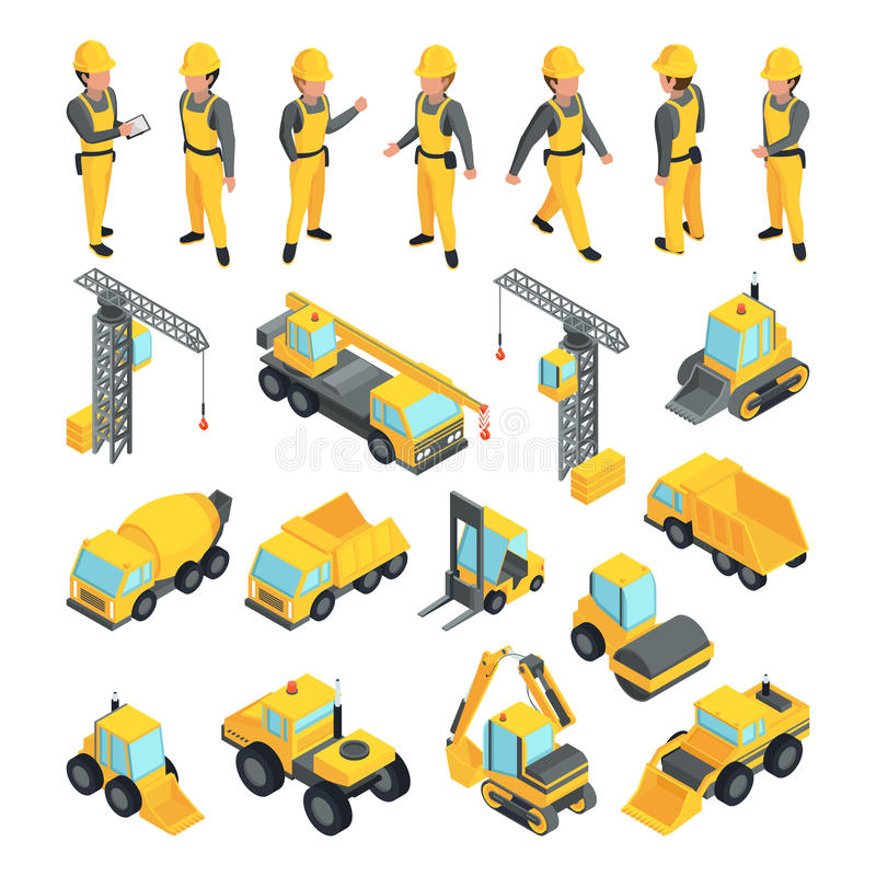 Trasporto e lavoratori per le costruzioni della costruzione Immagini di vettore nello stile isometrico illustrazione vettoriale