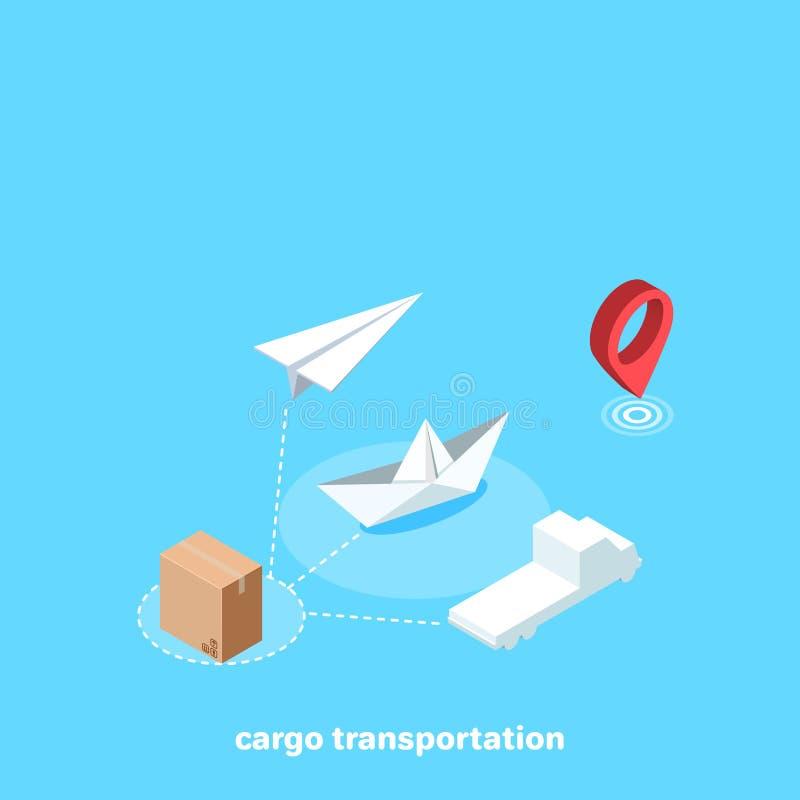 Trasporto e modalità di trasporto del carico illustrazione vettoriale