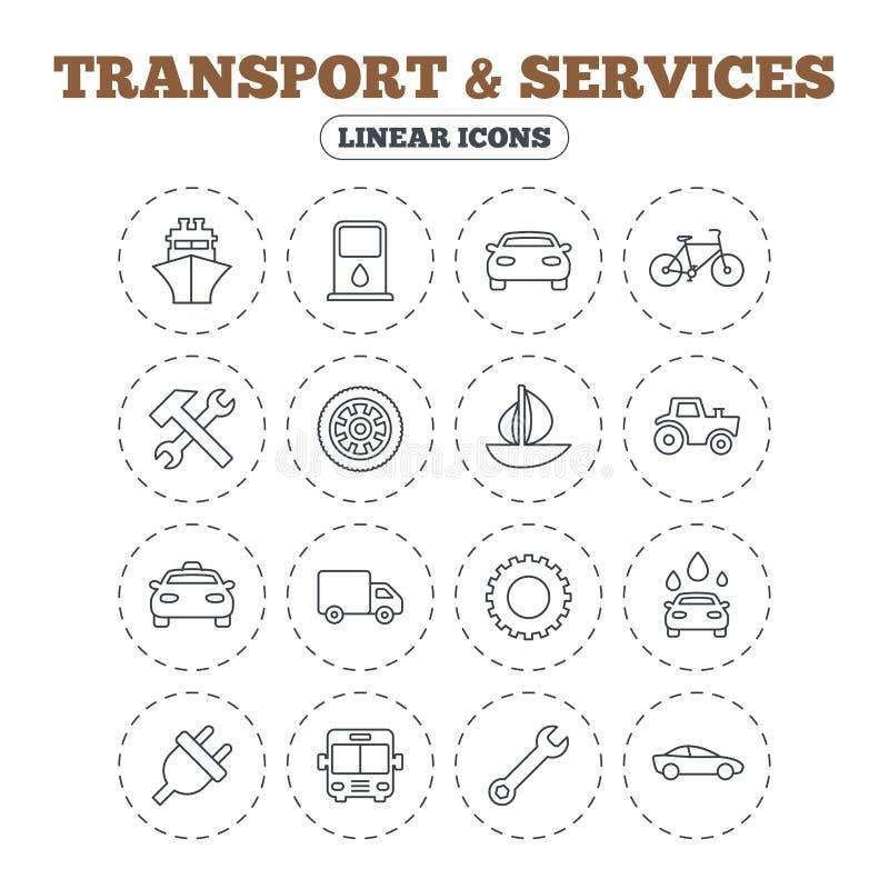 Trasporto, icone di servizi Nave, automobile e bus illustrazione vettoriale