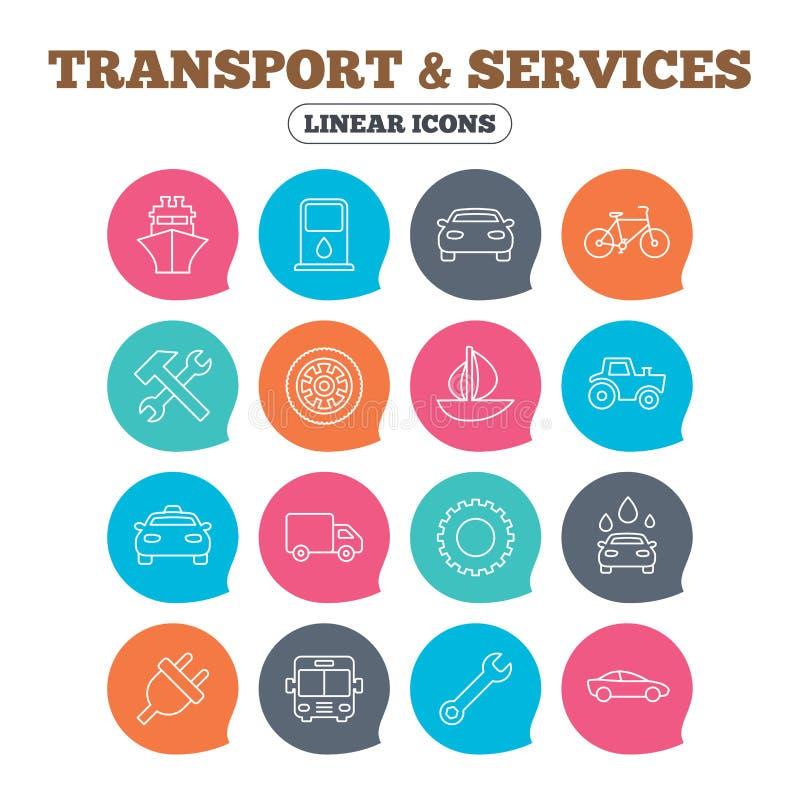 Trasporto, icone di servizi Nave, automobile e bus royalty illustrazione gratis