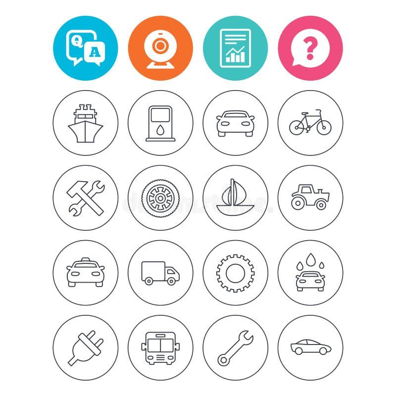 Trasporto, icone di servizi Nave, automobile e bus illustrazione di stock