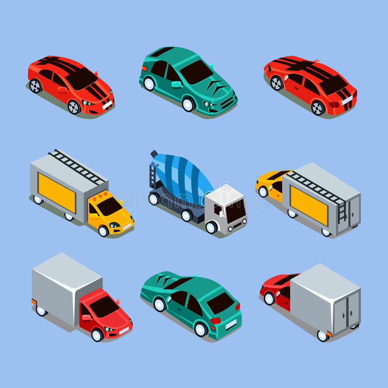 Trasporto isometrico piano della città di alta qualità 3d illustrazione di stock