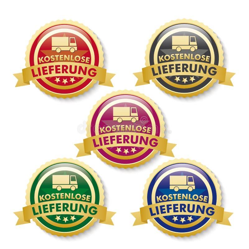 Trasporto libero 5 bottoni dorati illustrazione di stock