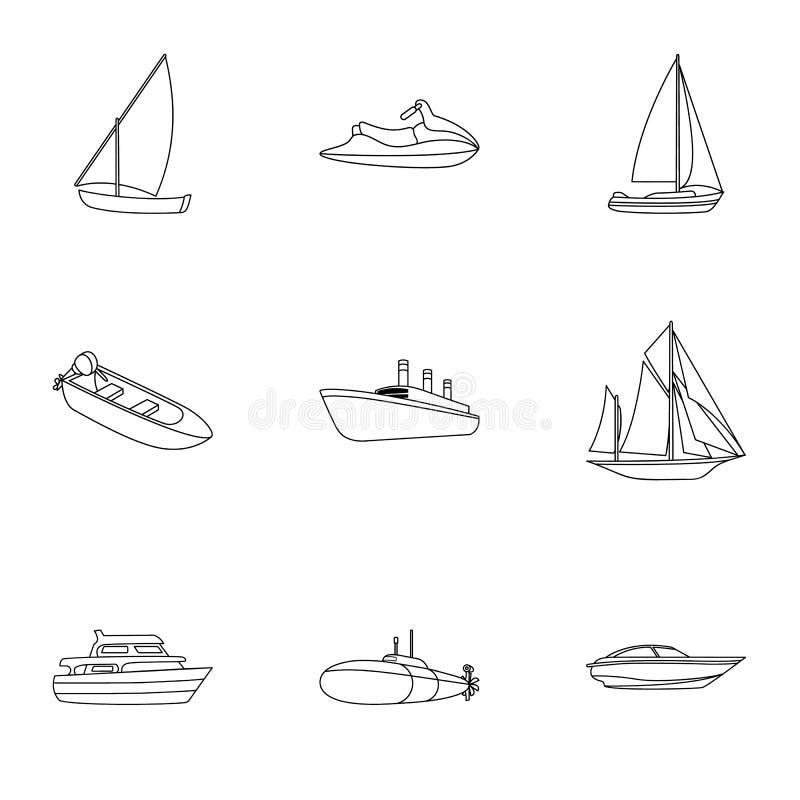 Trasporto marittimo, barche, navi per trasportare la gente, temporali La nave e l'acqua trasportano l'icona nella raccolta dell'i illustrazione di stock