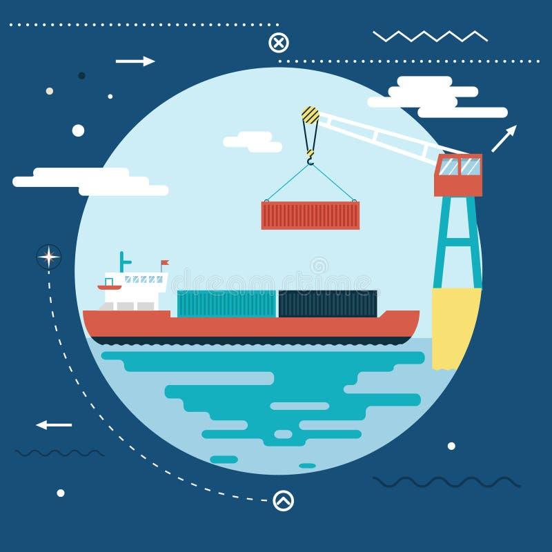 Trasporto marittimo-fluviale dell'oceano di simbolo del trasporto della spedizione illustrazione di stock