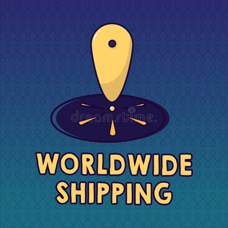 Trasporto mondiale del testo della scrittura Consegna dei trasporti via mare di significato di concetto della spedizione dell'int royalty illustrazione gratis