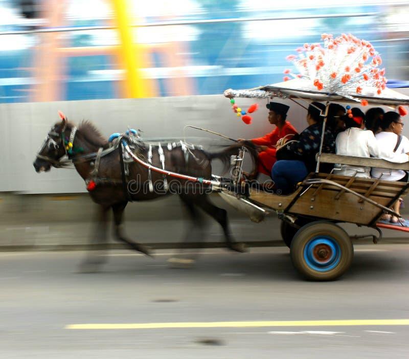 Trasporto tradizionale in paese Indonesia Jakarta fotografie stock