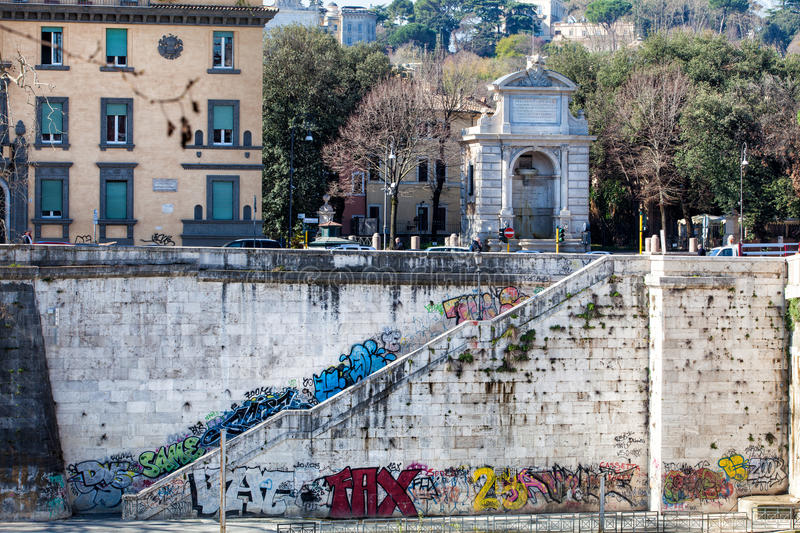 Trastevere. Bank of the Tiber, murals and Trilussa Square. Rome, Italy royalty free stock photo