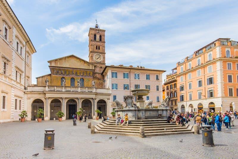 Trastevere bazylika Di Santa Maria w Rzym, Włochy zdjęcie royalty free