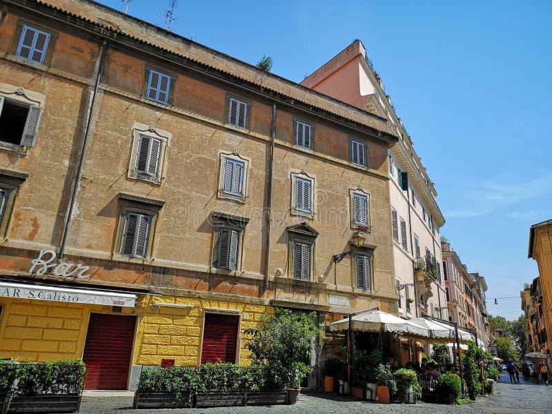 Trastevere neiborhood在罗马,意大利 库存图片