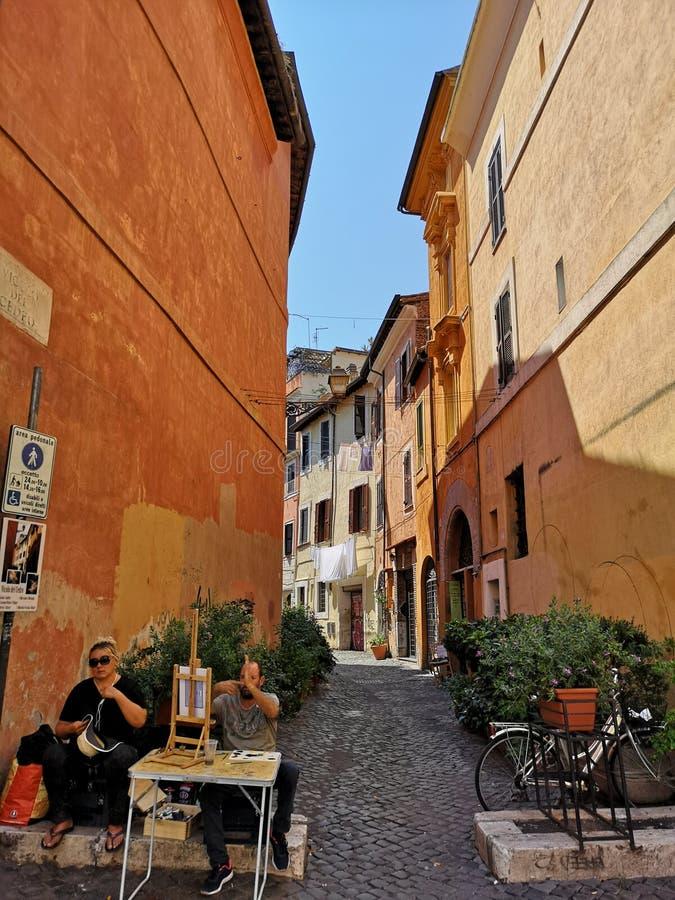 Trastevere neiborhood在罗马,意大利 免版税库存照片
