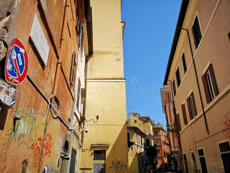 Trastevere neiborhood在罗马,意大利 免版税库存图片