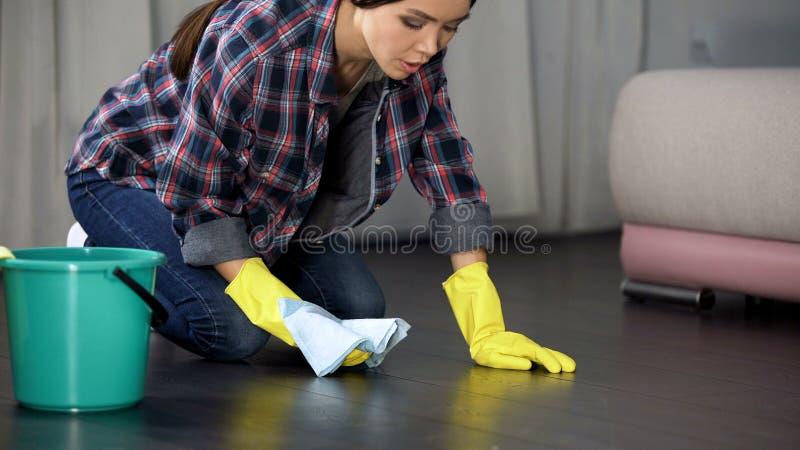 Trastorno de la mujer con el piso y las manchas mal pulidos en el entarimado de madera, limpiando fotos de archivo libres de regalías