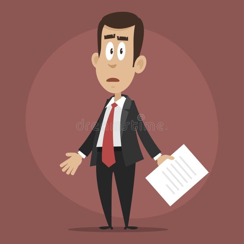 Trastorno del hombre de negocios y confundido ilustración del vector
