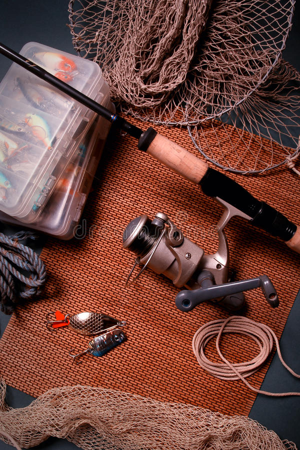 Trastos de pesca imagenes de archivo