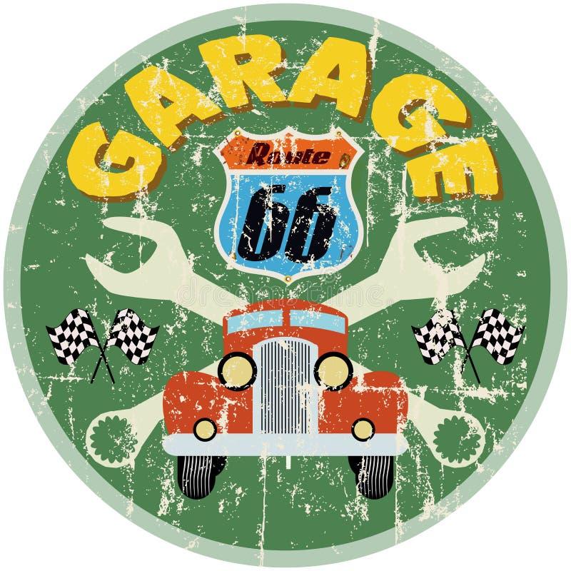 Trasy 66 garażu znak ilustracji