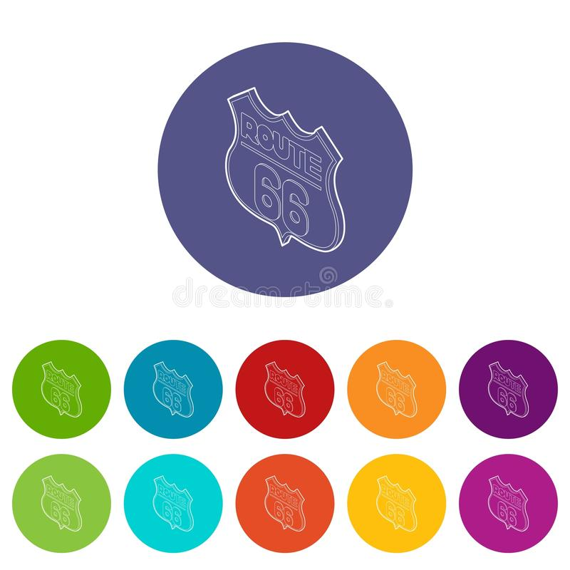 Trasy 66 ikona ustawiający wektorowy kolor royalty ilustracja