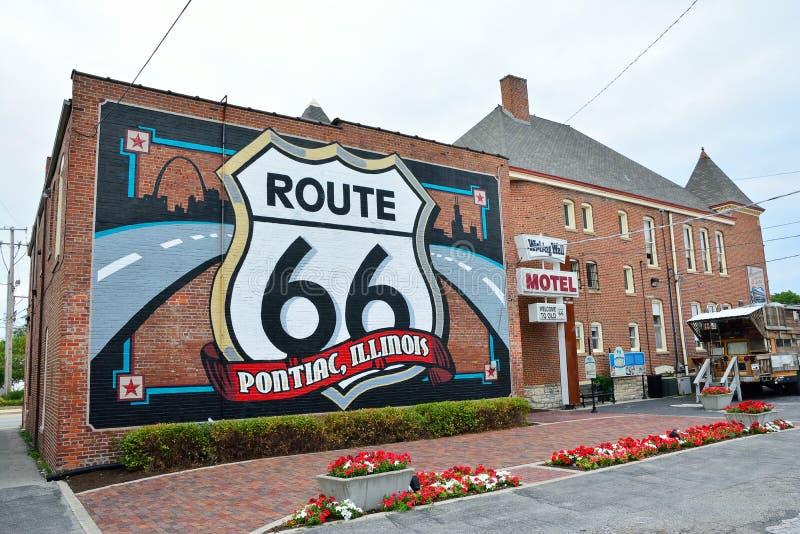 Trasy 66 malowidło ścienne w Pontiac, Illinois zdjęcie stock