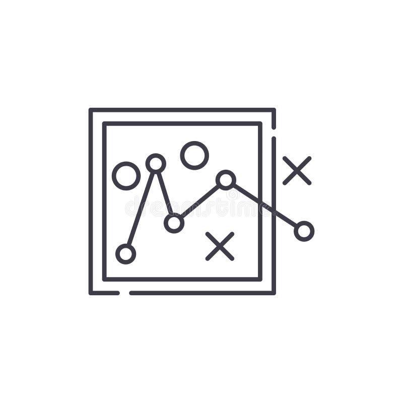 Trasy planowania linii ikony pojęcie Wysyła planistyczną wektorową liniową ilustrację, symbol, znak ilustracji