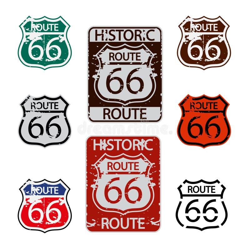 Trasy 66 znaka set ilustracja wektor