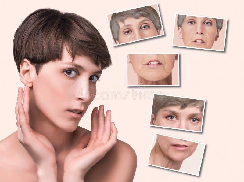 Tratamento antienvelhecimento, da beleza, envelhecimento e juventude, levantando, skincare, conceito da cirurgia plástica foto de stock royalty free