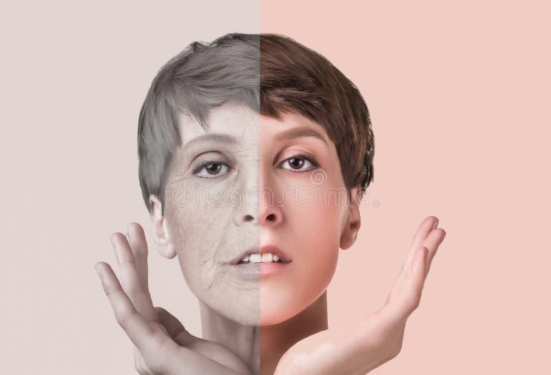 Tratamento antienvelhecimento, da beleza, envelhecimento e juventude, levantando, skincare, conceito da cirurgia plástica fotos de stock
